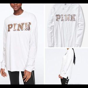 Medium PINK Bling Full Sleeve Campus Tee
